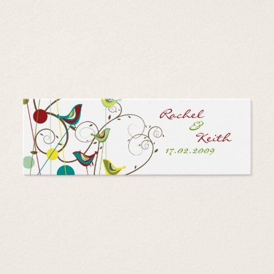 Colourful Summer Bird & Swirls Gift Tag / Wedding