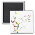 Colourful Summer Birds Swirls Save The Date Magnet