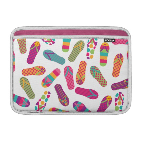 Colourful Summer Flip Flop Sandals Pattern MacBook Sleeve