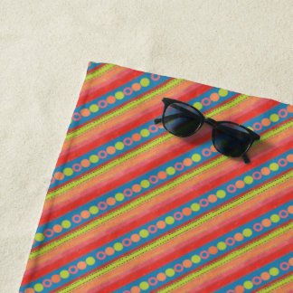 Colourful Summer Fruits and Stripes on Deep Blue Beach Towel
