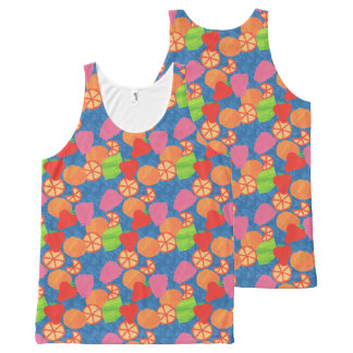 Colourful Summer Fruits Pattern on Deep Blue All-Over Print Tank Top
