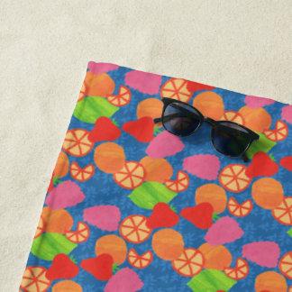Colourful Summer Fruits Pattern on Deep Blue Beach Towel
