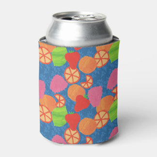 Colourful Summer Fruits Pattern on Deep Blue Can Cooler