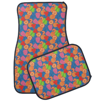 Colourful Summer Fruits Pattern on Deep Blue Car Mat