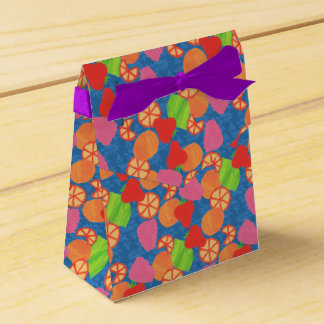 Colourful Summer Fruits Pattern on Deep Blue Favour Box
