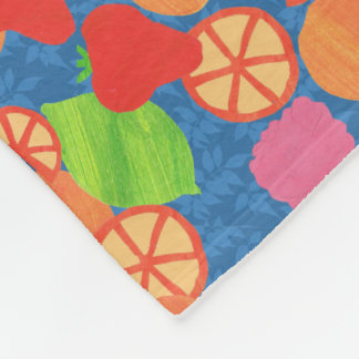 Colourful Summer Fruits Pattern on Deep Blue Fleece Blanket