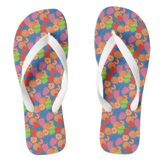Colourful Summer Fruits Pattern on Deep Blue Flip Flops