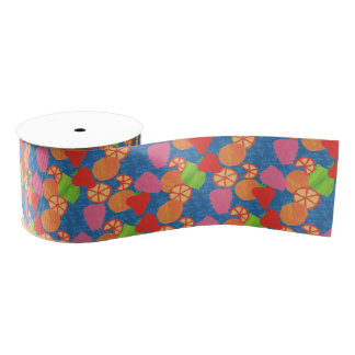 Colourful Summer Fruits Pattern on Deep Blue Grosgrain Ribbon