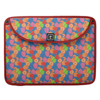 Colourful Summer Fruits Pattern on Deep Blue Sleeve For MacBooks