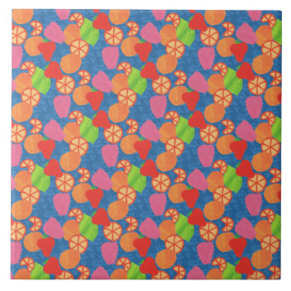 Colourful Summer Fruits Pattern on Deep Blue Tile