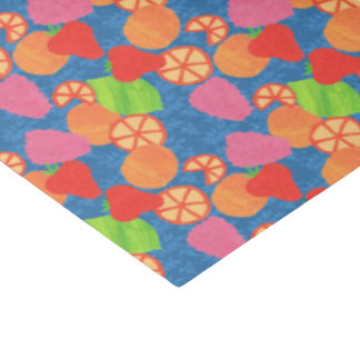 Colourful Summer Fruits Pattern on Deep Blue Tissue Paper