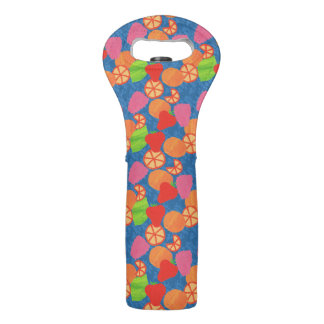 Colourful Summer Fruits Pattern on Deep Blue Wine Bag