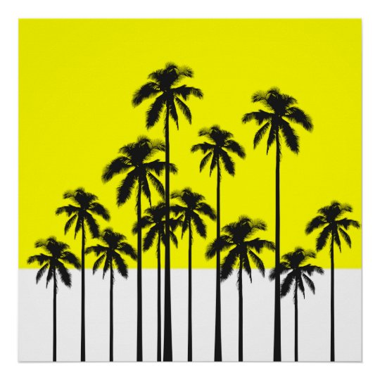 colourful summer neon yellow tropical palm trees poster zazzle co uk