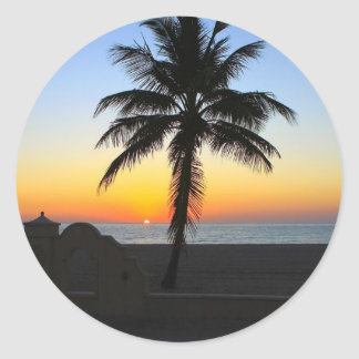 Colourful Sunrise Classic Round Sticker