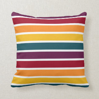 Colourful Sunset Stripes Throw Pillow