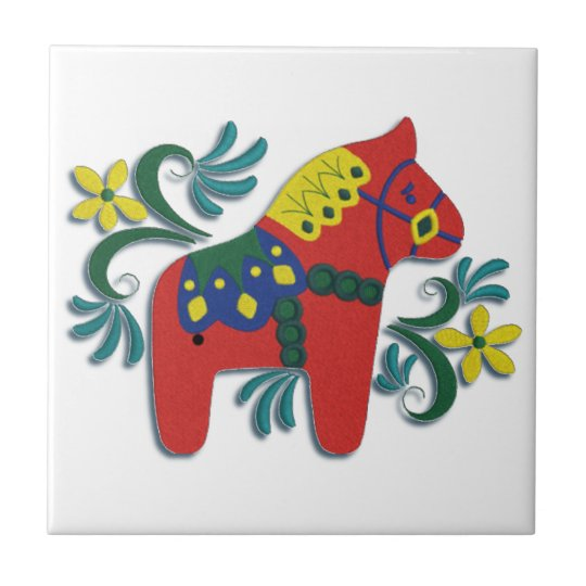 Colourful Swedish Dala Horse Right Facing Tile