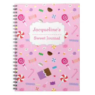 Colourful Sweet Candy Lovers Pattern For Girls Spiral Note Book