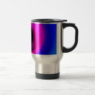 Colourful swirling black hole travel mug