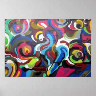 Colourful Swirls Graffiti Design in San Francisco Poster