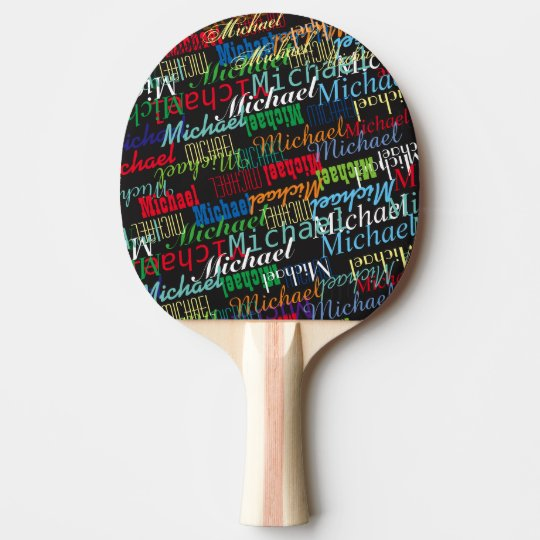 colourful table_tennis player's name custom ping pong paddle