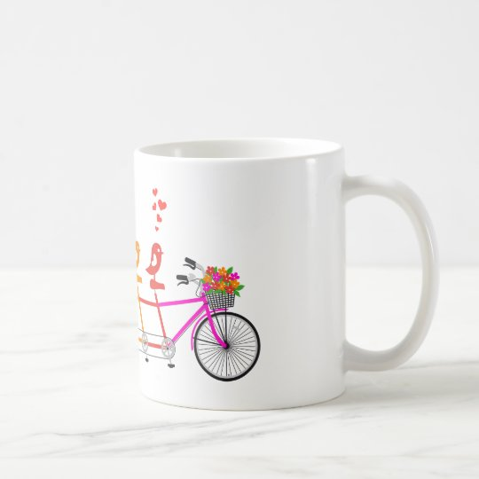 colourful tandem bicycle with cute birds family coffee