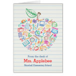 Colourful Teachers Apple Note Card Vertical