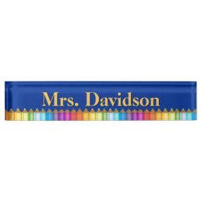 Colourful Teacher's Custom Desk Nameplate