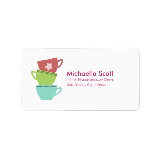 Colourful Teacups Address Label