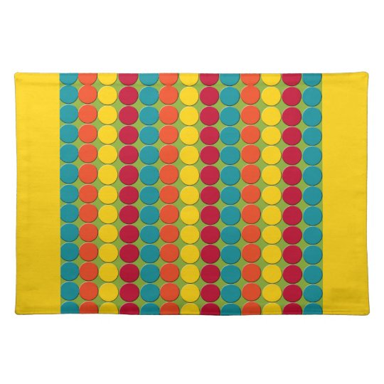 Colourful Teal, Orange, Yellow, and Red Dot Placemat