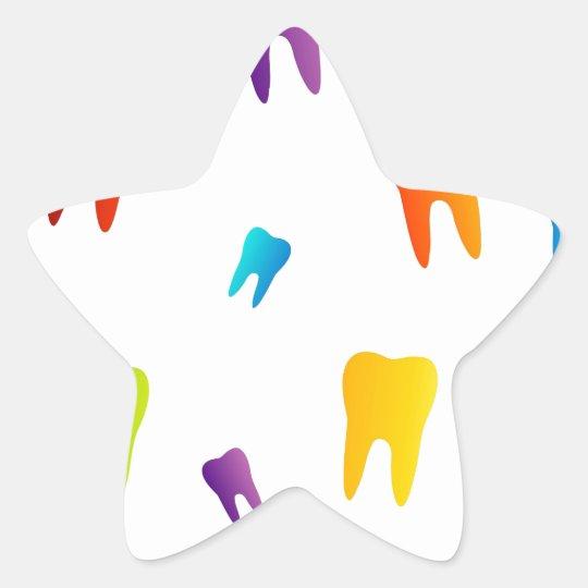 Colourful teeth star sticker