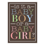 Colourful Text Baby Boy or Girl Gender Reveal Part Invitations