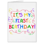 Colourful Text It's My First Birthday Cards