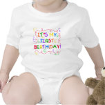 Colourful Text It's My First Birthday Rompers