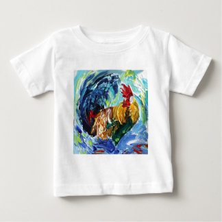 Colourful textured design of Ken the Rooster Baby T-Shirt