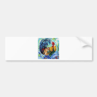 Colourful textured design of Ken the Rooster Bumper Sticker