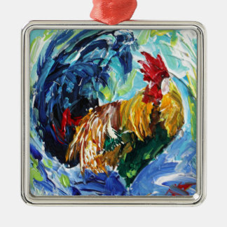 Colourful textured design of Ken the Rooster Christmas Ornament