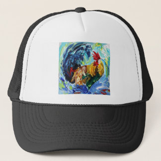 Colourful textured design of Ken the Rooster Trucker Hat