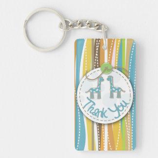 Colourful thank you giraffe and tree keyrings Single-Sided rectangular acrylic key ring