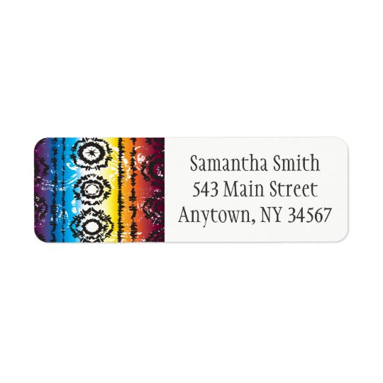 Colourful Tie Dye Batik Return Address Labels