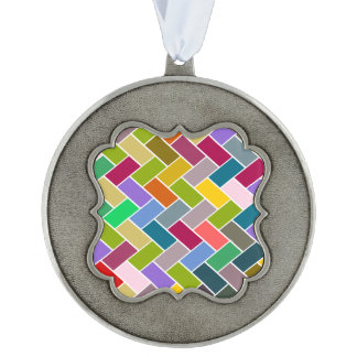 Colourful Tiled Mosaic Pattern Scalloped Pewter Ornament