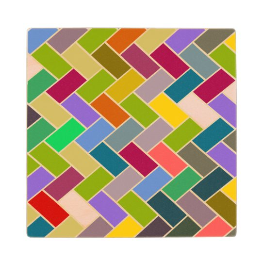 Colourful Tiled Mosaic Pattern Wood Coaster
