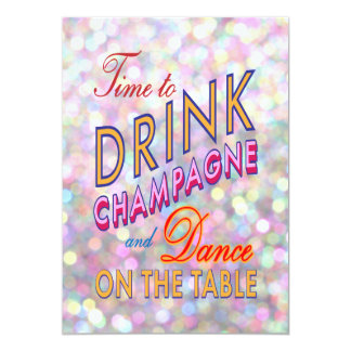 Colourful Time to Drink Champagne Corporate Invite