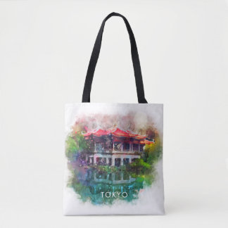 Colourful Tokyo Japan Garden Over Water Tote Bag