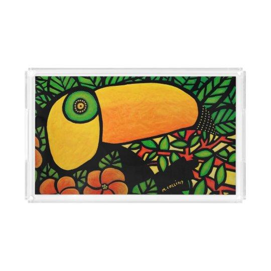 Colourful Toucan Tropical Bird Acrylic Tray