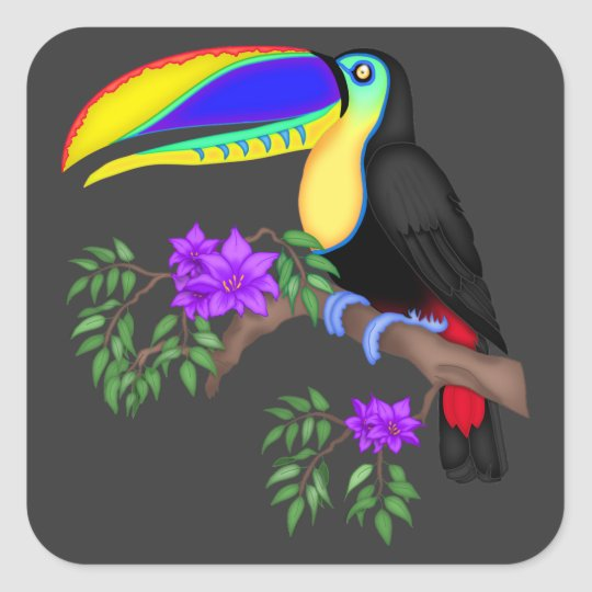 Colourful Toucan With Flowers Square Sticker