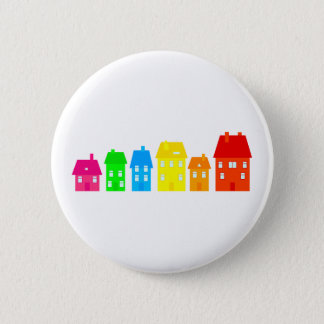 Colourful Town 6 Cm Round Badge