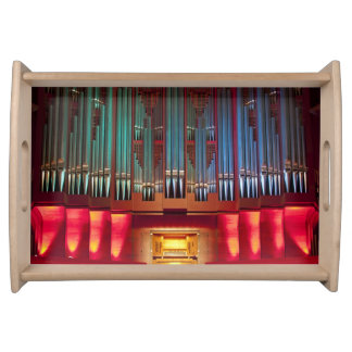 Colourful town hall pipe organ serving tray