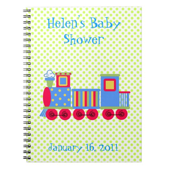 Colourful Toy Train Baby Shower Notebook