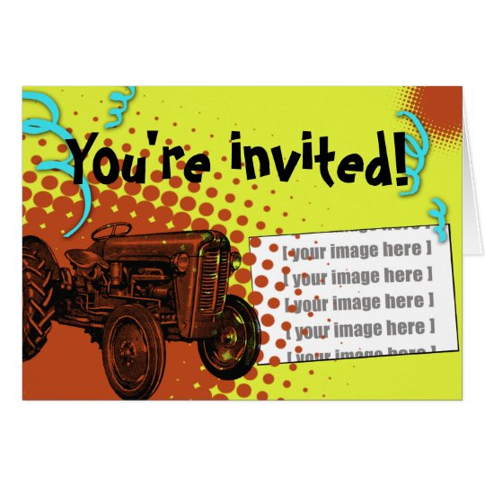Colourful Tractor Party Invitation: Add your photo Card