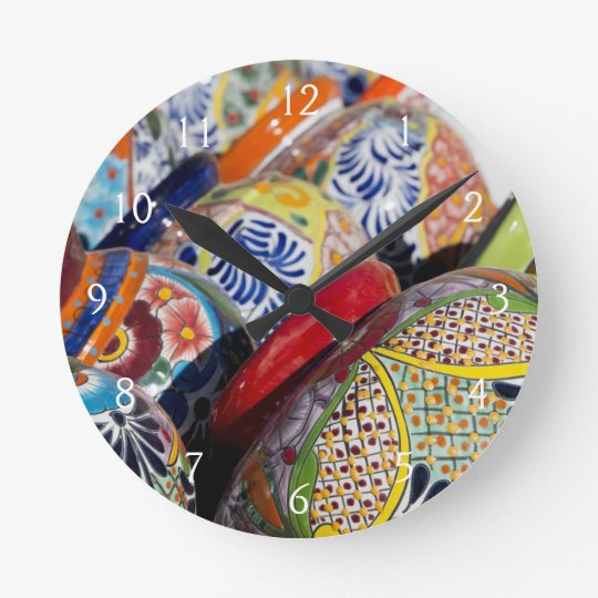 Colourful traditional hand-painted Mexican pottery Round Clock